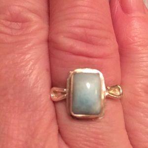 Genuine Larimar stone sterling ring